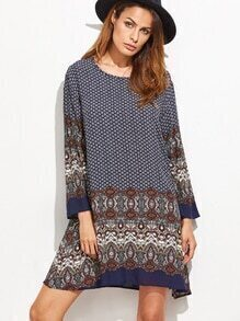 Multicolor Tribal Print Long Sleeve Shift Dress