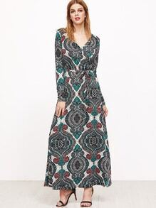 Green Tribal Print Self Tie Warp Dress