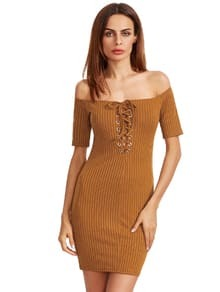 Mustard Off The Shoulder Lace Up Back Bodycon Dress