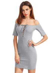 Pale Grey Off The Shoulder Lace Up Back Bodycon Dress