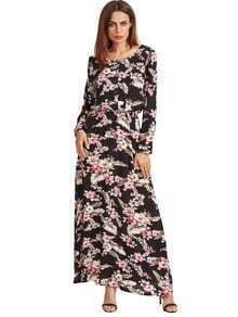 Black Blossom Print Buttoned Front Dress