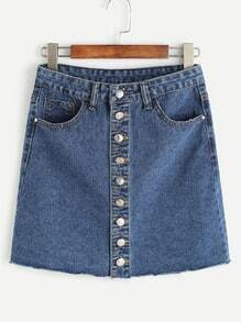 Blue Single Breasted Raw Hem Denim Skirt