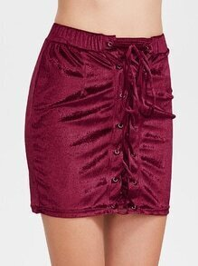 Burgundy Velvet Lace Up Skirt