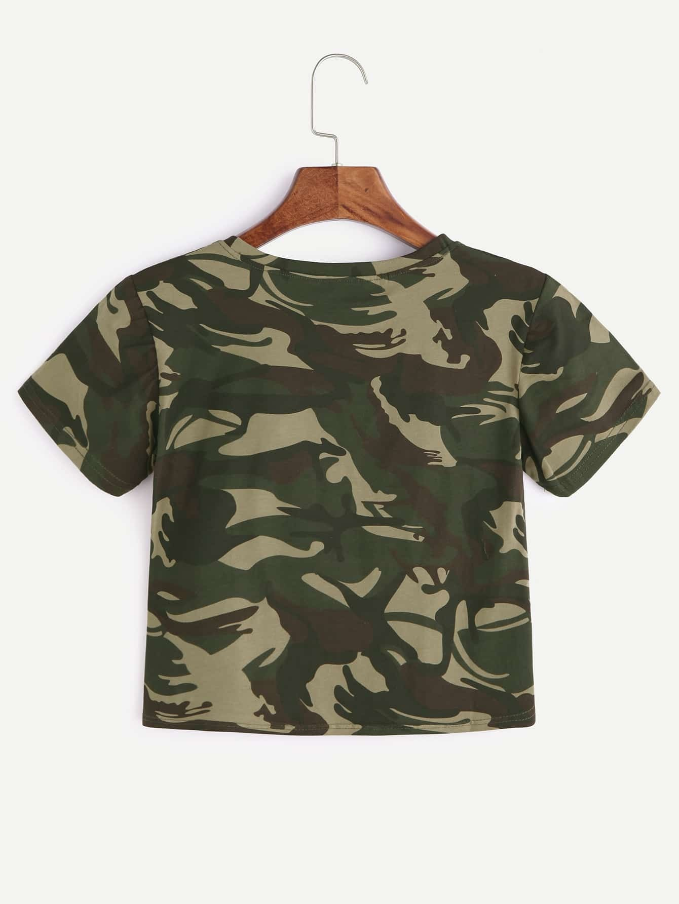 camouflage imprimer crop t shirt french romwe. Black Bedroom Furniture Sets. Home Design Ideas