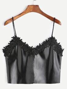 Black PU Leather Contrast Crochet Trim Crop Cami Top