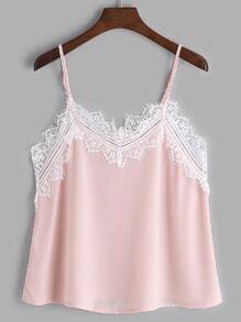Pink Contrast Eyelash Lace Trim Cami Top