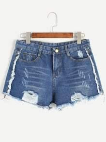 Dark Blue Ripped Raw Hem Denim Shorts