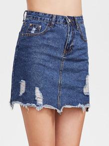 Blue Raw Hem Ripped Denim Skirt