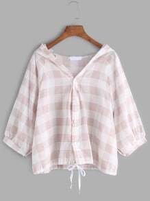 Pink Hooded Checked Lace Up Blouse