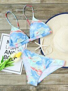 Light Blue Printed Triangle Bikini Set