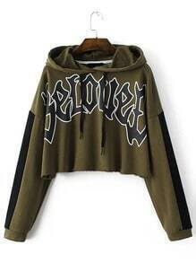 Army Green Letter Print Crop Hooded Sweatshirt