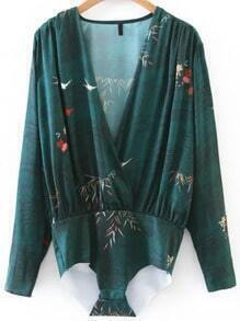 Dark Green Printed Surplice Front Bodysuit