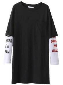 Black Letter Print Contrast Sleeve Tee Dress