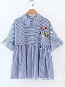 Blue Embroidered Contrast Striped Ruffle Blouse