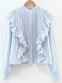 Blue And White Striped Band Collar Ruffle Trim Blouse