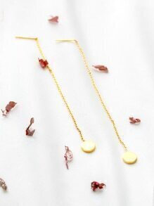 Gold Round Drop Chain Earrings