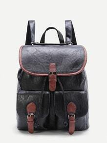 Black Contrast Trim Buckle Design PU Backpack