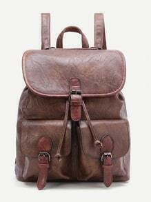 Brown Buckle Design PU Backpack With Pocket