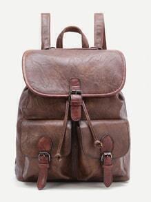 Mochila diseño de hebilla pu con bolsillo - marrón
