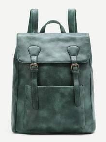 Green Double Buckle Zipper Detail PU Backpack