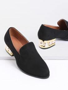 Black Pearl Detail Chunky Heeled Shoes