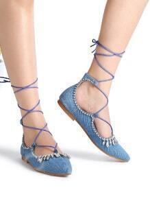 Blue Rhinestone Detail Lace Up Denim Ballet Flats