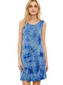 Blue Crew Neck Ink Print Tie-dye Casual Dress