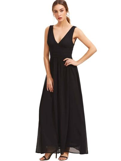 a3ebc7fb12 Black Sleeveless V Neck Maxi Dress