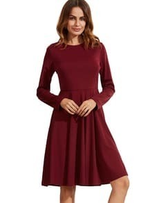 Burgundy Pleated Long Sleeve A-Line Dress