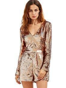 Rose manga larga de oro Deep V cuello Sequined Romper