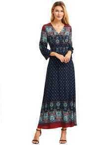 Royal Blue Print V Neck Bell Sleeve Split Dress