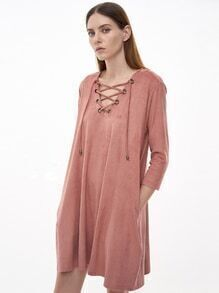 Pink Eyelet Lace Up Suede Shift Dress