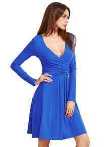Royal Blue V Neck Long Sleeve Ruched Dress