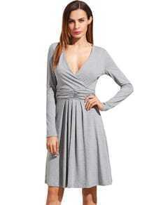 Grey V Neck Long Sleeve Ruched Dress