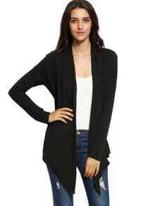 Black Open Front Drape Cardigan Sweater