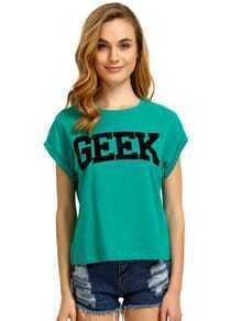 Green Short Sleeve GEEK Print Crop T-Shirt