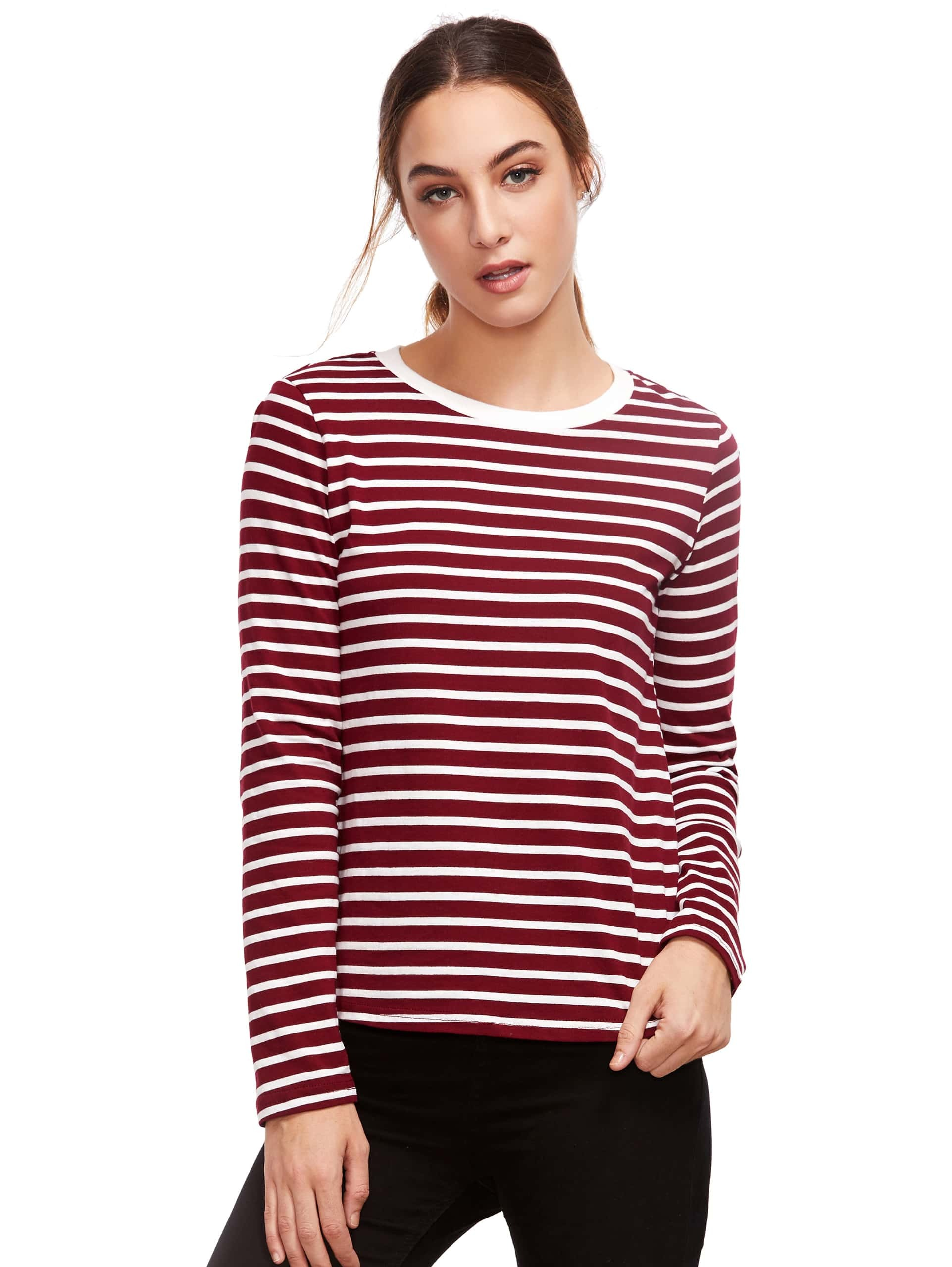 Burgundy long sleeve striped t shirtfor women romwe for Burgundy long sleeve t shirt womens