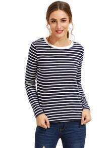 Navy Long Sleeve Striped T-Shirt