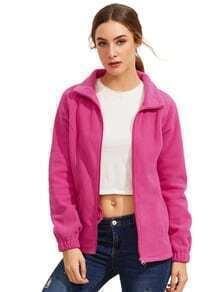 Hot Pink High Neck Zipper Outerwear