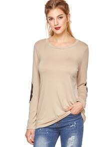Camiseta de remiendo de manga larga de albaricoque