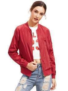 Dark Red Stand Collar Zipper Crop Jacket