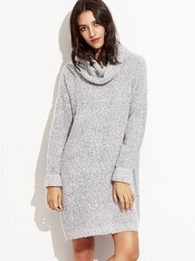 Grey High Neck Long Sweater