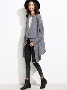 Black Draped Collar Asymmetrical Sweater Cardigan