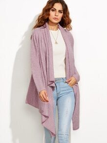 Purple Draped Collar Asymmetrical Sweater Cardigan