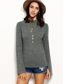 Grey High Neck Split Sleeve Sweater