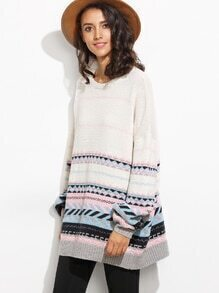 White Patchwork Long Sleeve Sweater