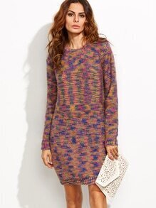Multicolor Round Neck Long Sleeve Sweater Dress