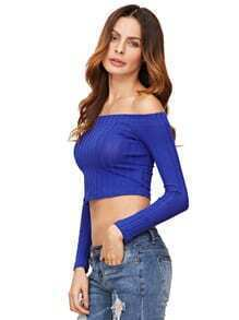 Royal Blue Off The Shoulder Crop T-shirt