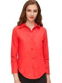 Red Sharp Collar Long Sleeve Buttons Blouse