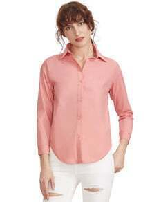 Pink Sharp Collar Long Sleeve Buttons Blouse